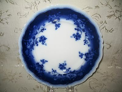"""1902 Antique Flow Blue Dinner Plates in the """"Clayton"""" Pattern"""