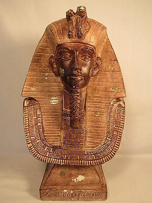 "Ancient Egyptian Decorative Large King Tut Bust 17""H Pharaoh Sculpture Statue"