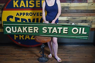 1940's 50's QUAKER STATE Motor Oil Service METAL SIGN Gas Station Advertising