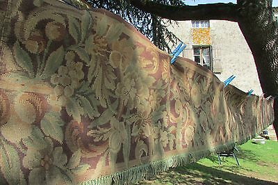 """LONGEST LENGTH ANTIQUE FRENCH TAPESTRY BED CANOPY TRIM TIED BOWS c1910-20 13ft2"""""""