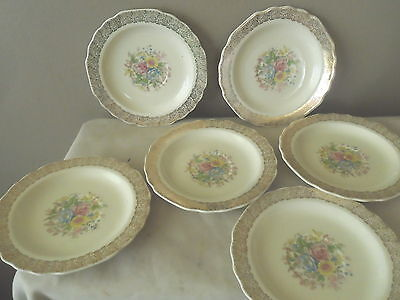 """W.s. George Canarystone Floral Gold Border 6"""" Cup Saucers-6"""