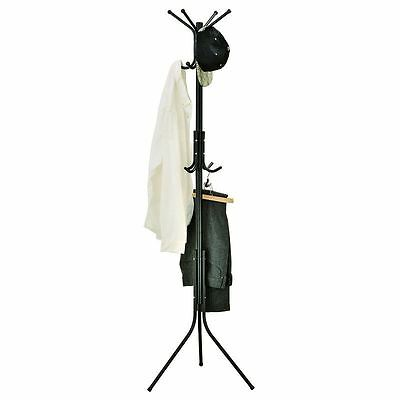 New & Boxed Black Metal Coat 12 Hook Rack  Free Standing Clothes Stand