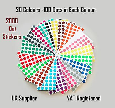 Pack of 2000 - 8mm Dot Circular Coloured Dot Stickers - 20 Colours Premium Pack