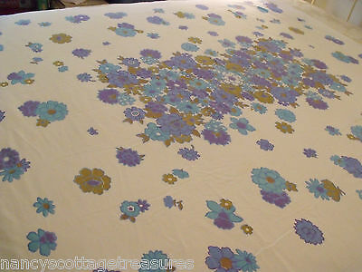 "Vtg Table Cloth Blue Purple Retro Flower Power Groovy Cottage Chic 53""x62"""