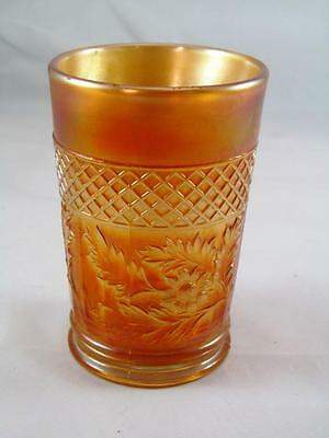 "Dugan Diamond Daisy Tumbler - Marigold Carnival Glass - 4"" Tall"