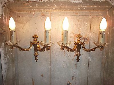 French  wall light a pair of exquisite antique / vintage  bronze patina