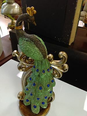 17 Inch Tall Peacock Figurine Decor / Colorful / Statue / FREE SHIPPING