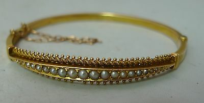 Antique 15ct Yellow Gold & Pearl Bangle AF 8g A606317