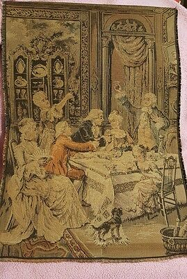 """ANTIQUE VINTAGE TAPESTRY BROCADE PIECE ▪FRANCE family in parlor w/dog 12x18"""""""