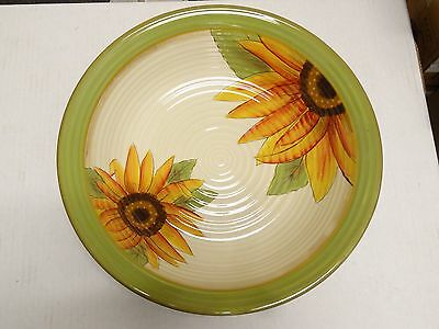 """Clay Art NEW Handpainted SUNFLOWER Large Serving Bowl 13""""  EXCELLENT!!!"""