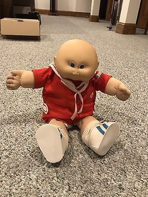 Cabbage Patch Bald Baby Doll Red Sailor Suit - 15 Inch