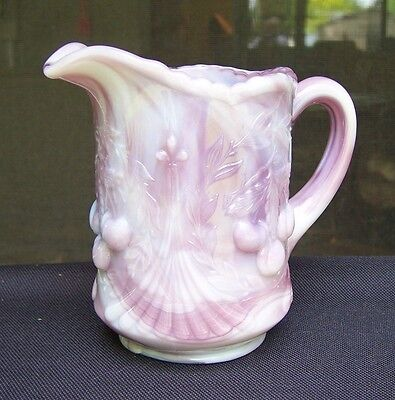Vintage Dugan Wreathed Cherries Purple/Lavender Slag Glass Creamer