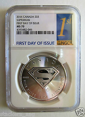 2016 NGC MS70 Superman S-Shield 1 oz Silver Coin - First Day of Issue