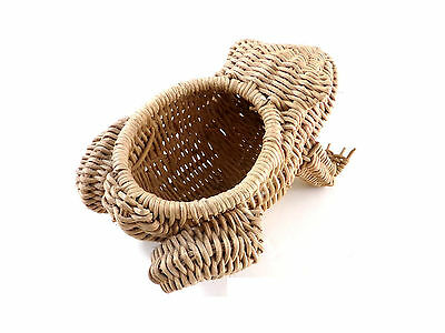 VIntage Small Wicker Frog Toad Rattan Mixed Material Figure Basket