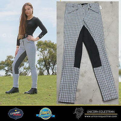 Clearance on Ladies Jodhpur Breeches Grey Check Charcoal Full Leather Seat *New