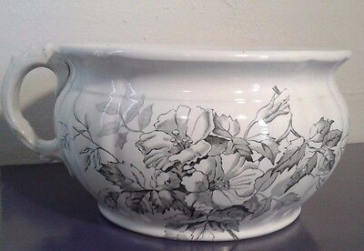 Chamber Pot, White w Black Floral Design by Alfred Meakin Kent England Melbourne