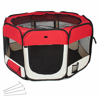 Foldable cage for dogs and cats, ideal puppies and small dogs, red