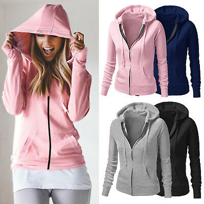 Women Ladies Plain Hoodies Fleece Sweatshirt Hooded Coat Casual Zip Up Jacket