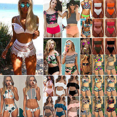 Women High Waist Bikini Set Push Up Padded Ladies Swimsuit Bathing Suit Swimwear