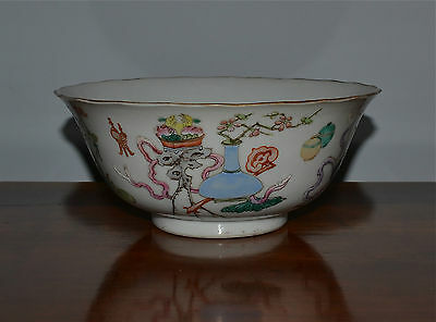 Antique Chinese Famille Rose Porcelain Bowl 19th C Qing Mark Scholar's Objects