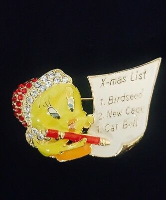Warner Brothers WB Tweety Bird Christmas Wish List Swarovski Crystal Brooch