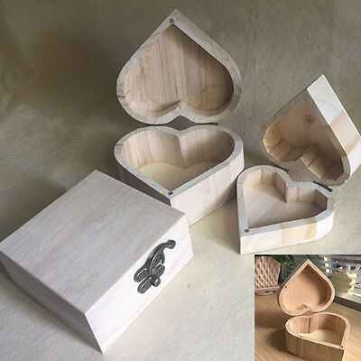 New Heart-Shaped Wooden Storage Box Retro Wood Packaging Love Muhe Jewelry Boxes