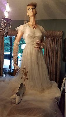 Flapper Tulle Wedding Dress Hat/Veil Jewelry White Shoes