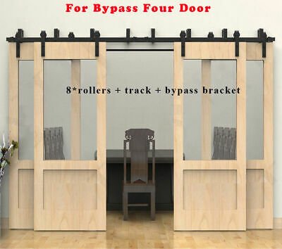 4FT-20FT Country Steel Sliding Barn Door Hardware Track Kit Single/Double/Bypass