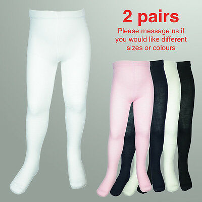 2 pair Girls Winter Cotton Tights Stocking 0-8 years White Black Navy Pink Cream