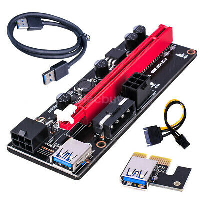 6pin PCI-E Express USB3.0 1x to 16x Extender Riser Card Adapter SATA Power Cable