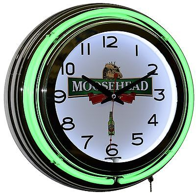 "Moosehead Breweries Since 1867 Beer Logo 15"" Green Double Neon Advertising Clock"