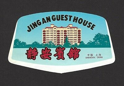 China Jingan Guest house Shanghai old luggage label