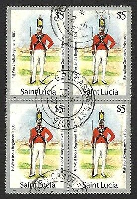 St Lucia #760 1985 Uniforms $5 used block of 4