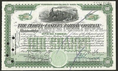 Peoria and Eastern Railway Company Stock Certificate for 100 shares