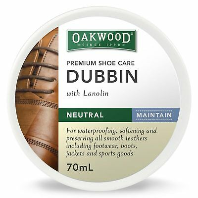 Oakwood Dubbin Neutral 70ml Nourishes Preserve Coloured Leather Water Protection