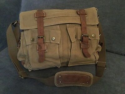 Men's Canvas Bag With Real Leather Straps