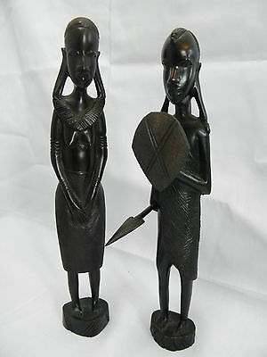 African tribal wood carving warrior man and woman pair