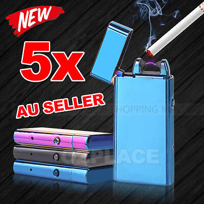 5X USB Rechargeable Electric Cigarette Lighter Pulse Arc Windproof Metal