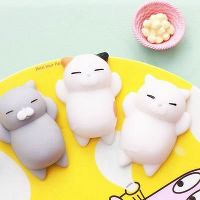 3pcs Lovely Cat Squishy Healing Squeeze Fun Kid Toy Gift Stress Reliever US Sell