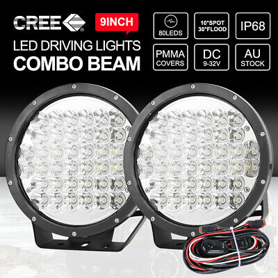 PAIR 7 inch LED Driving Lights CREE Round Spotlights 4x4 BLACK With DRL 12V 24V