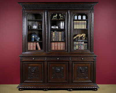 Antique Very Large Carved Oak Bookcase c.1880.