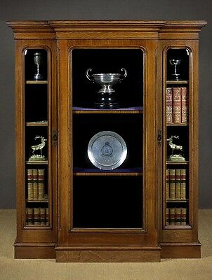 Antique Low Breakfront Oak Trophy Display c.1880.