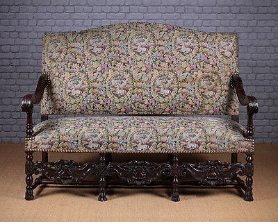 Antique Carolean Style Carved Walnut Couch. c1930.