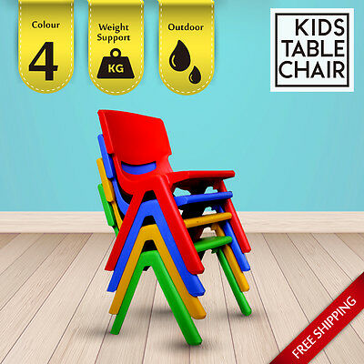 4 Colour Kids Toddler Square Activity Plastic Chairs Indoor Outdoor Play Drawing