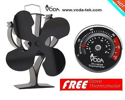 Free thermometer+Heat Powered wood Stove Fan for wood burner/fireplace eco fan