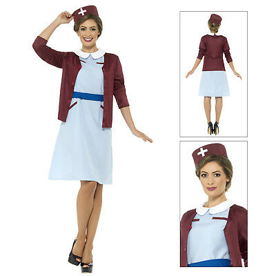 Smiffys Womens Vintage Nurse Fancy Dress Costume Ladies 1940s WW2 Uniform Outfit