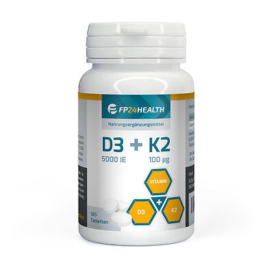 FP24 Health Vitamin D3+K2 - 365 Tabletten - Vitamin D3 5000IE - Vitamin K2 100µg