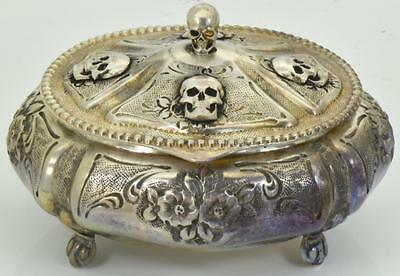 MUSEUM antique 19th Century German  Memento Mori Skull  solid silver box.RARE!!!
