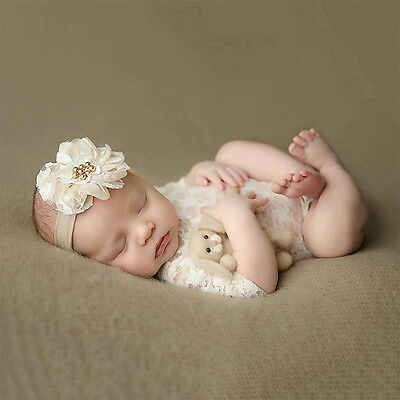 Cute Newborn Baby Girls Lace Floral Romper Bodysuit Photo Props Photography