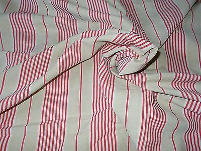 Antique French Ticking Fabric, Red & Beige Striped Mattress Ticking. 4yrds 26""